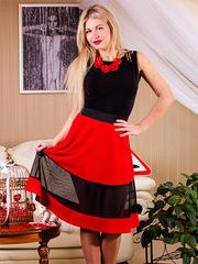 5868-1 юбка красная