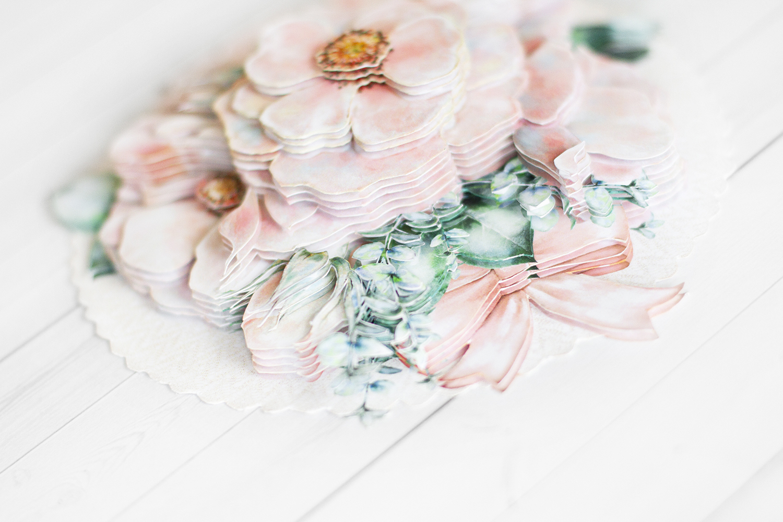 Папертоль Цветы на кружеве - готовая работа, вид снизу