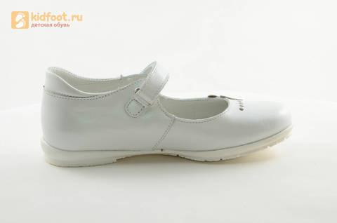 Туфли Тотто из натуральной кожи на липучке для девочек, цвет Белый, 10204D. Изображение 4 из 16.