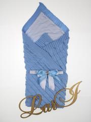 Вязаный плед Лапушка (голубой)