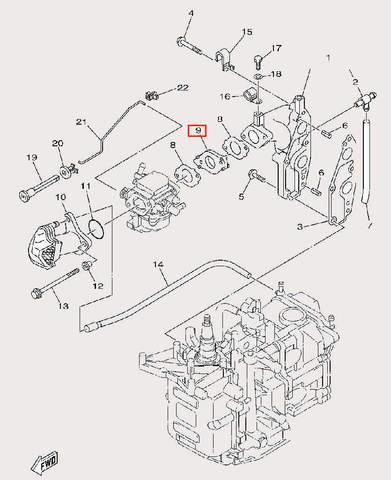 Изолятор карбюратора для лодочного мотора F9,9 Sea-PRO (6-9)