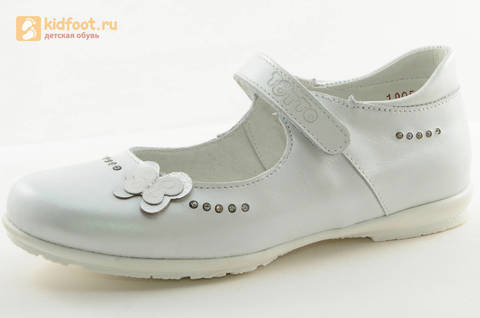 Туфли Тотто из натуральной кожи на липучке для девочек, цвет Белый, 10204D. Изображение 1 из 16.