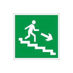 Знак безопасности E13 Напр.к эв.вых.по лест.вниз/пр(плёнка,ф/л,200х200)