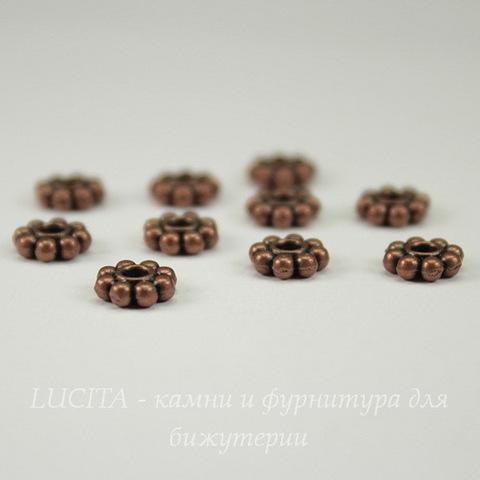 Бусина спейсер в виде цветка  (цвет - античная медь) 7х7 мм, 10 штук