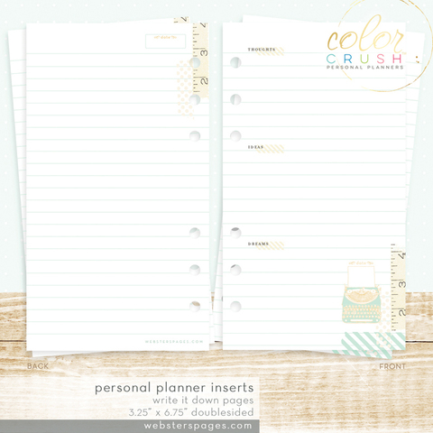 Страницы для  записи  WRITE IT DOWN INSERTS (PERSONAL) Websters Pages