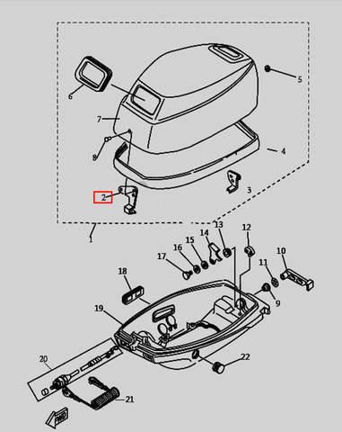 Скоба защелки колпака для лодочного мотора T9.8 Sea-PRO (1-2)