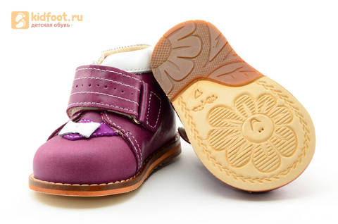Ботинки для девочек Тотто из натуральной кожи на липучке цвет Сирень, 013A. Изображение 9 из 16.