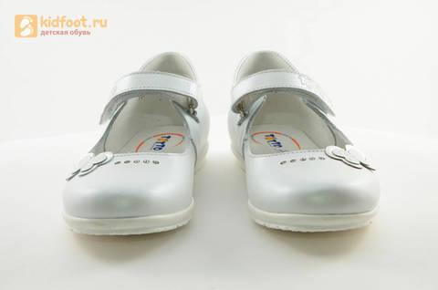 Туфли Тотто из натуральной кожи на липучке для девочек, цвет Белый, 10204D. Изображение 5 из 16.