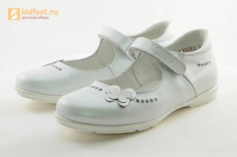 Туфли Тотто из натуральной кожи на липучке для девочек, цвет Белый, 10204D. Изображение 6 из 16.