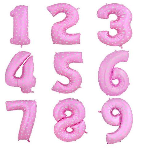Цифра фольга розовая 102 см