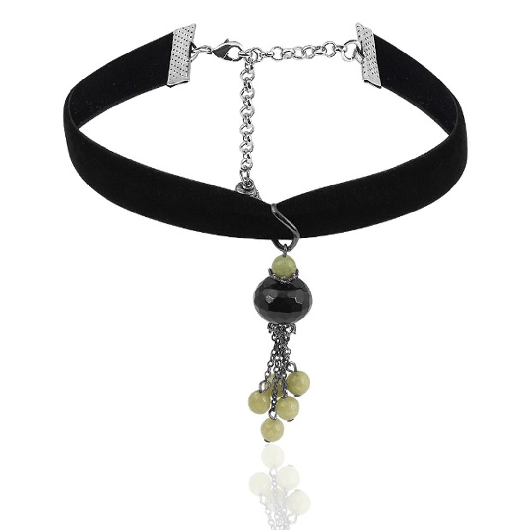 """Купить со скидкой Чокер """"Olive"""" на бархатной ленте, с подвесками из черного агата и агата цвета оливы"""