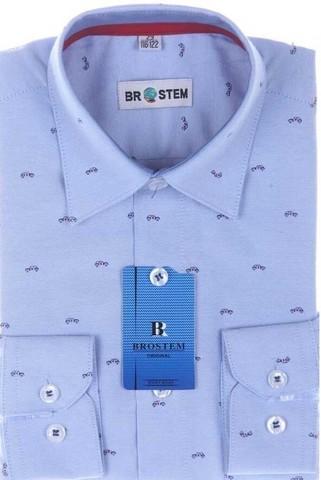BROSTEM Рубашка для мальчика школьная 7138-1d голубая