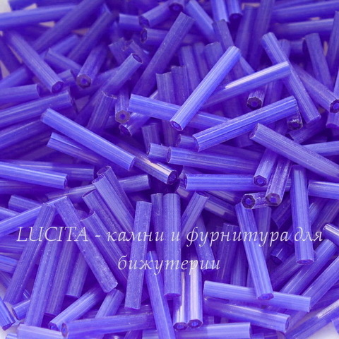 35061 Бисер Preciosa стеклярус 15 мм, шестиугольный, синий сатин