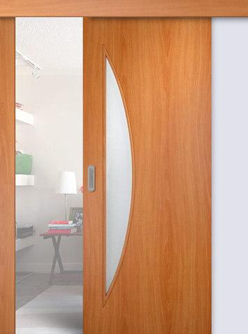 Дверь раздвижная Сибирь Профиль Луна (С-6), цвет миланский орех, остекленная