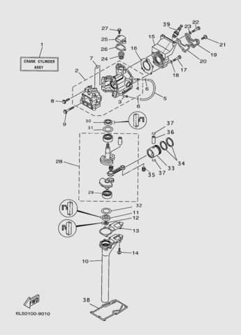 Блок цилиндра в сборе  для лодочного мотора T3S SEA-PRO (2-1)