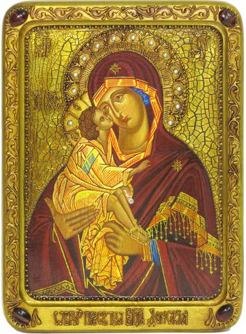 Подарочная живописная икона Донская Пресвятая Богородица 29х21см на кипарисе