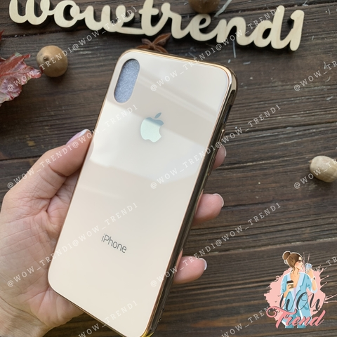 Чехол iPhone X/XS Glass Case Logo /gold/