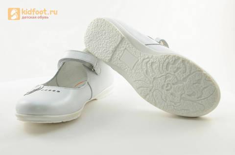 Туфли Тотто из натуральной кожи на липучке для девочек, цвет Белый, 10204D. Изображение 9 из 16.