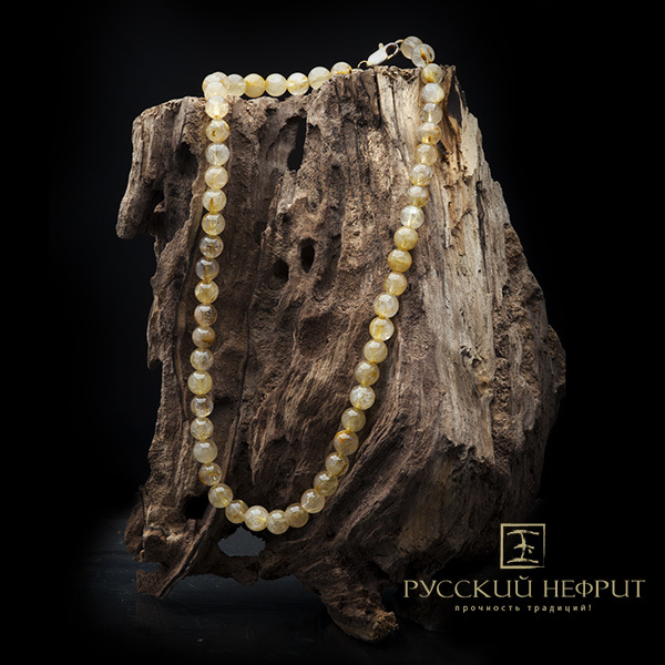Колье из редких камней Бусы из жёлтого волосатика. busy20site.jpg