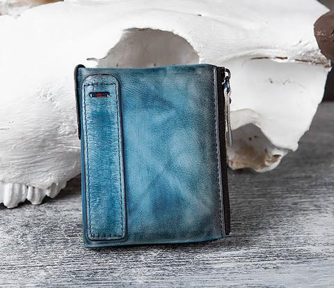 Мужске портмоне из натуральной кожи синего цвета