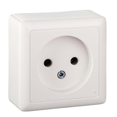 Розетка электрическая без заземления 10 А 250 В. Цвет Белый. Schneider Electric(Шнайдер электрик). Hit(Хит). RA10-131-B