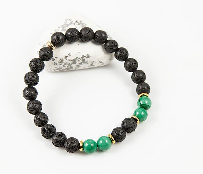 Zаря, Мужской браслет из вулканической лавы и малахита (19 см) бусы из имитации малахита леди