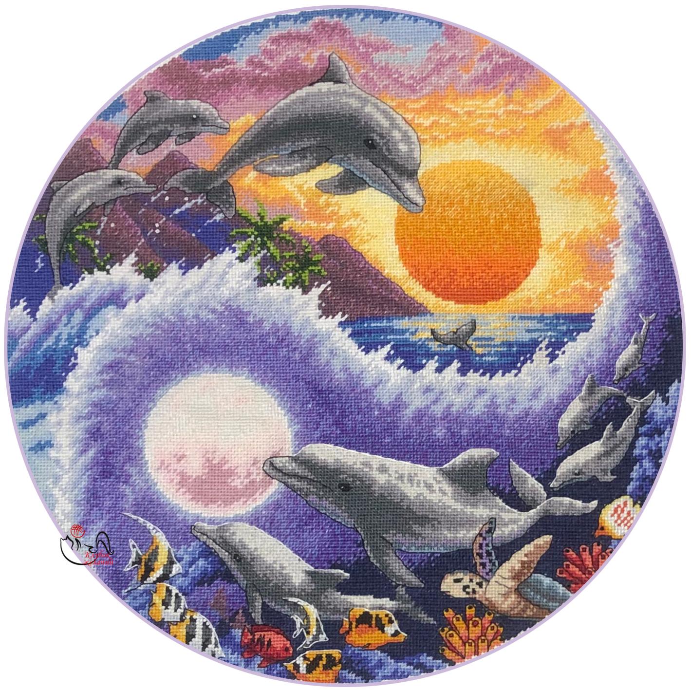 Набор для вышивания Солнце и луна. Дельфины. Арт. 3106