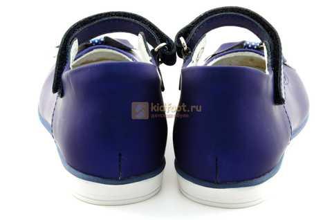 Туфли ELEGAMI (Элегами) из натуральной кожи для девочек, цвет темно синий металлик, артикул 7-83351003. Изображение 7 из 12.