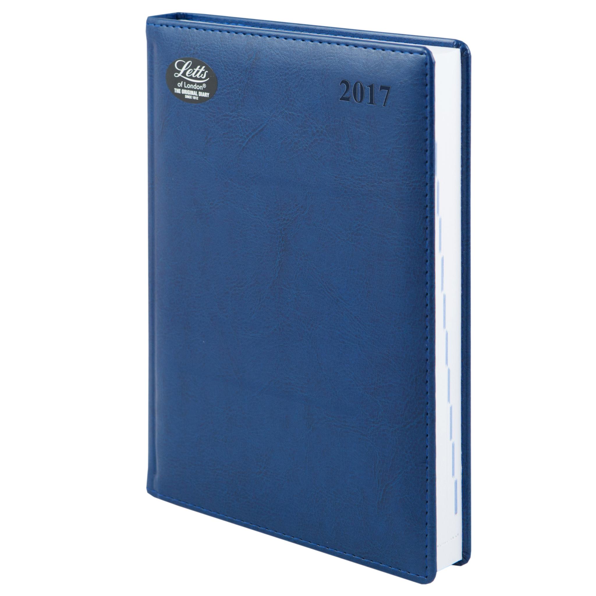 Ежедневник Letts Umbria 2017, A5 (148 х 210), синий, иск.кожа, срез белый