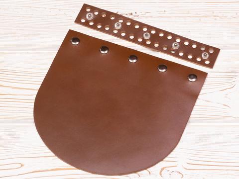 """Клапан для сумочки кожаный на заклепках """"Корица"""""""