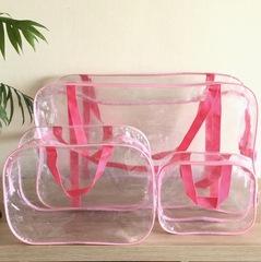 Прозрачная сумка в роддом с 2 косметичками, розовая, вид 2