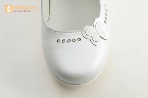 Туфли Тотто из натуральной кожи на липучке для девочек, цвет Белый, 10204D. Изображение 12 из 16.