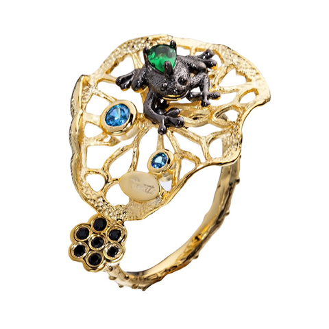 Кольцо с цирконом и шпинелью из серебра 925