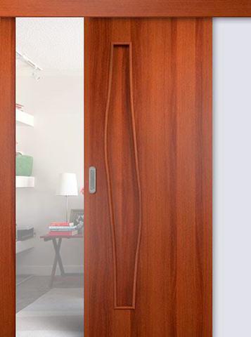 Дверь раздвижная Сибирь Профиль Волна (С-10), цвет итальянский орех, глухая