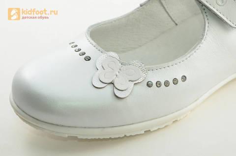 Туфли Тотто из натуральной кожи на липучке для девочек, цвет Белый, 10204D. Изображение 13 из 16.