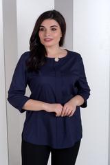 Лиза. Стильная блуза больших размеров. Синий