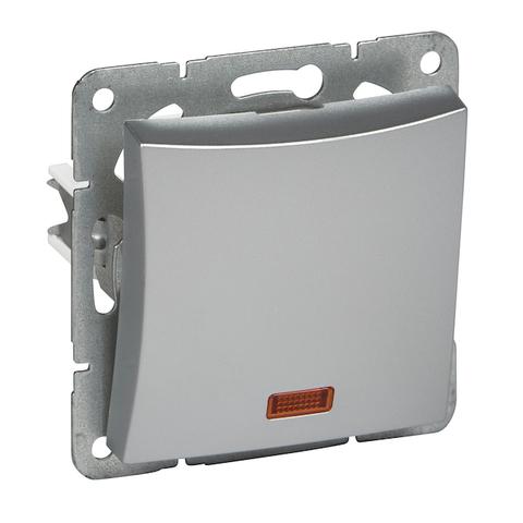 Выключатель одноклавишный с подсветкой (схема 1а) 10 АХ 250 В. Цвет Серебристый. Schneider Electric(Шнайдер электрик). Duet(Дует). WDE000313