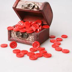 Пуговица деревянная 15 мм, цвет красный