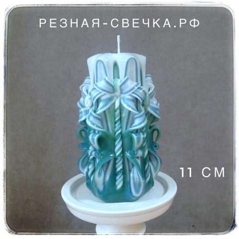 Резная свеча Сине-зеленая малая