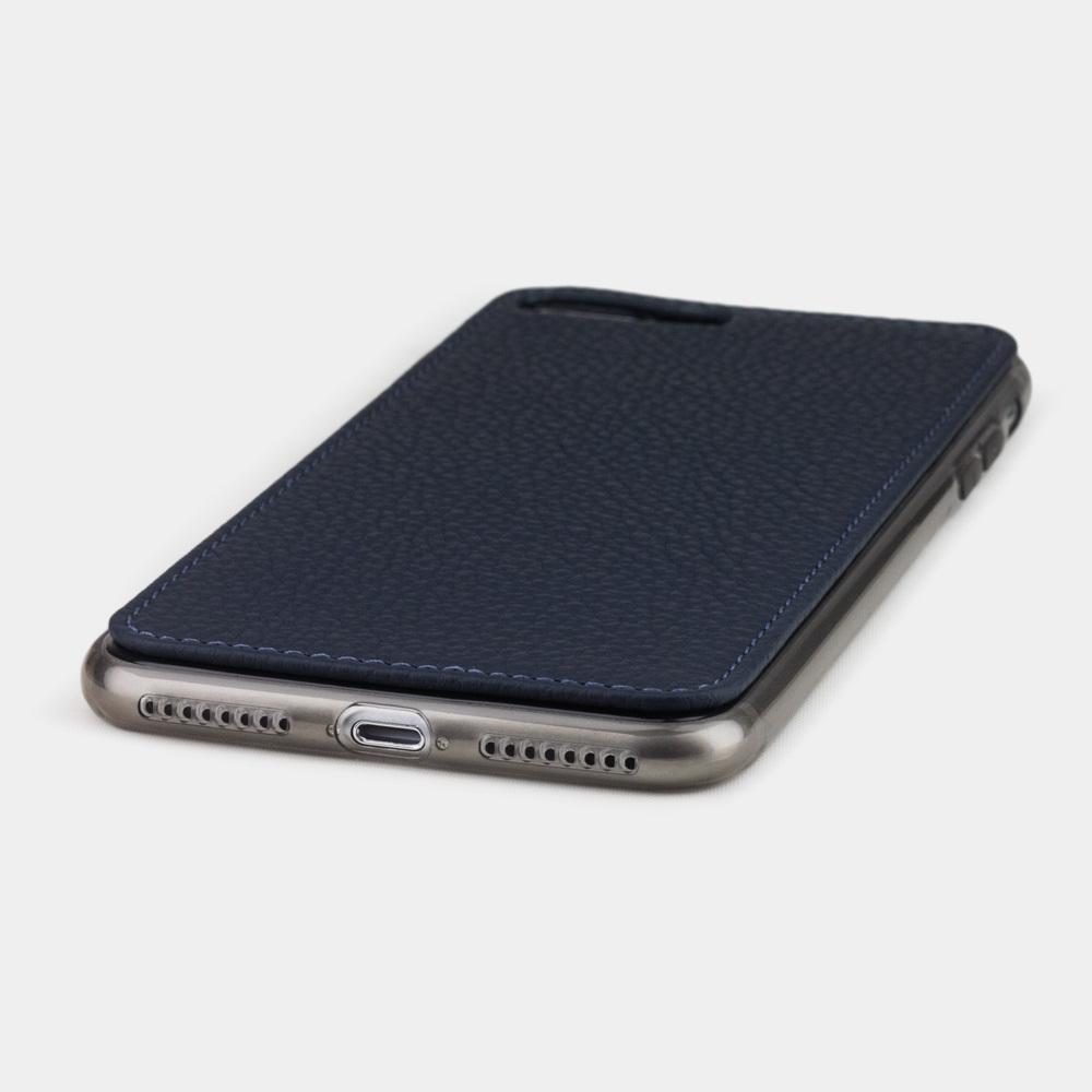 Чехол-накладка для iPhone 8 Plus из натуральной кожи теленка, цвета синий мат