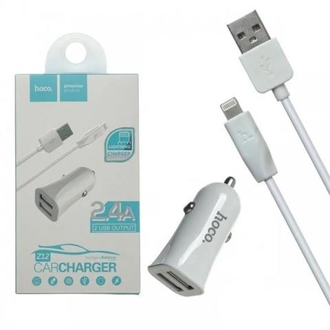 Автомобильное зарядное устройство USB Hoco Z12 (2 порта, кабель Lightning) Белый