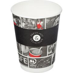 Стакан одноразовый двухслойный бумажный Cafe Noir, 300мл, DW12 25 шт