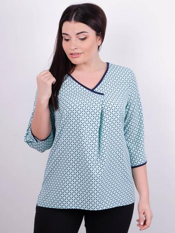 Леона принт. Стильна блуза size plus. М'ята.