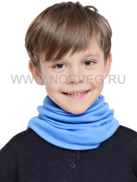 Многофунциональный шарф для мальчиков Norveg Норвег Монстр голубой с 100% шерстью мериносов.