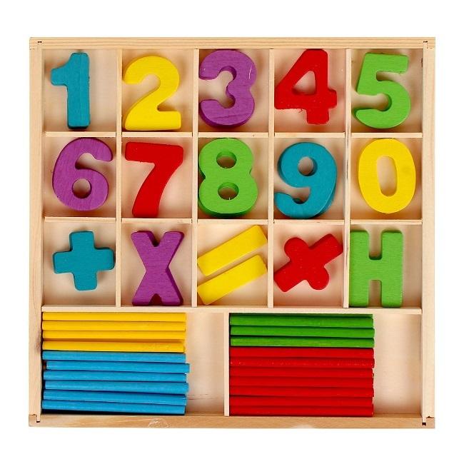 Набор счётных палочек, резных цифр и знаков, 120 элементов
