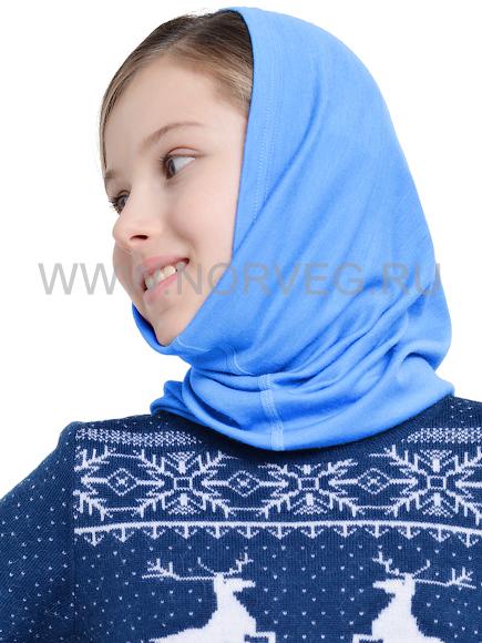Многофунциональный шарф для девочек Норвег Монстр голубой с 100% шерстью мериносов.