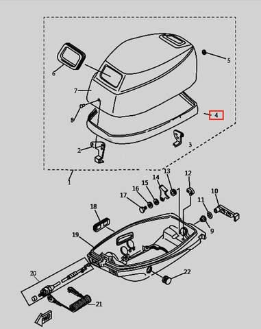 Уплотнитель капота для лодочного мотора T9.8 Sea-PRO (1-4)