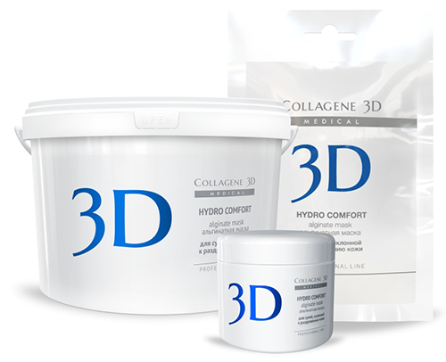 Альгинатная маска HYDRO COMFORT для лица и тела с экстрактом алое вера, Medical Collagene 3D