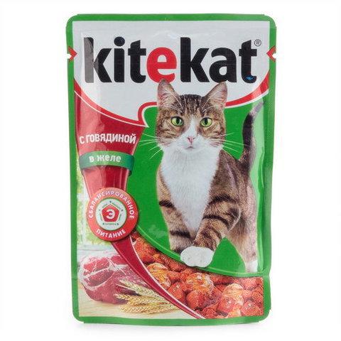 """Корм для кошек Kitekat """"Говядина в желе"""" 100г"""