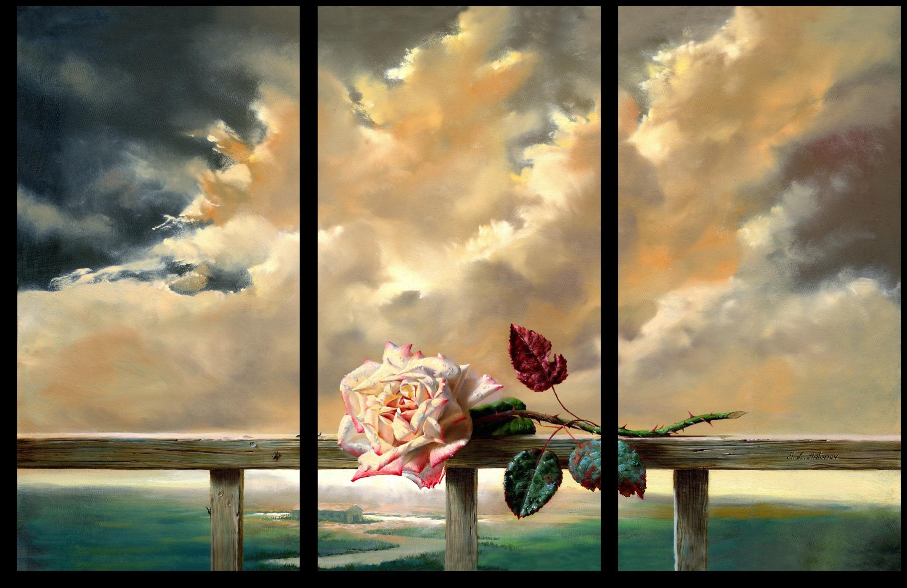 """Цветы Модульная картина """"Живописный бутон розы"""" М205.png"""